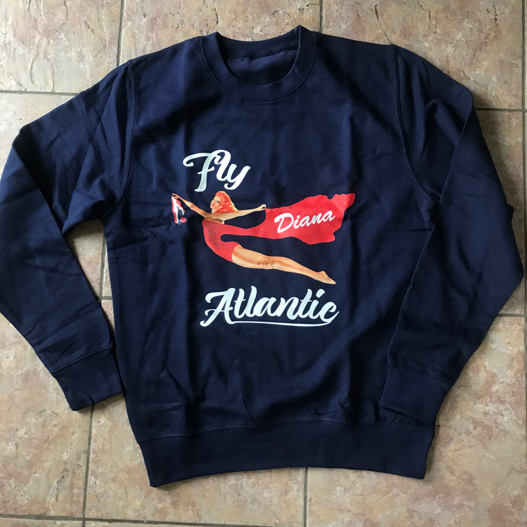 Fly Atlantic KiSS Sweatshirt - Diana - Princess of Wales inspired - Gym Workout Paparazzi - Virgin Airline Pin Up girl