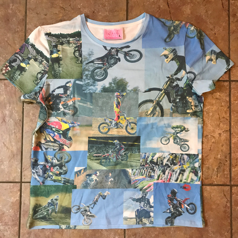 Fight Club MotoX KiSS Cut & Sew T-Shirt - Pure Cotton - Motocross Dirt Bike - Motorbike - Tyler Durden Inspired - men's gift, present for biker
