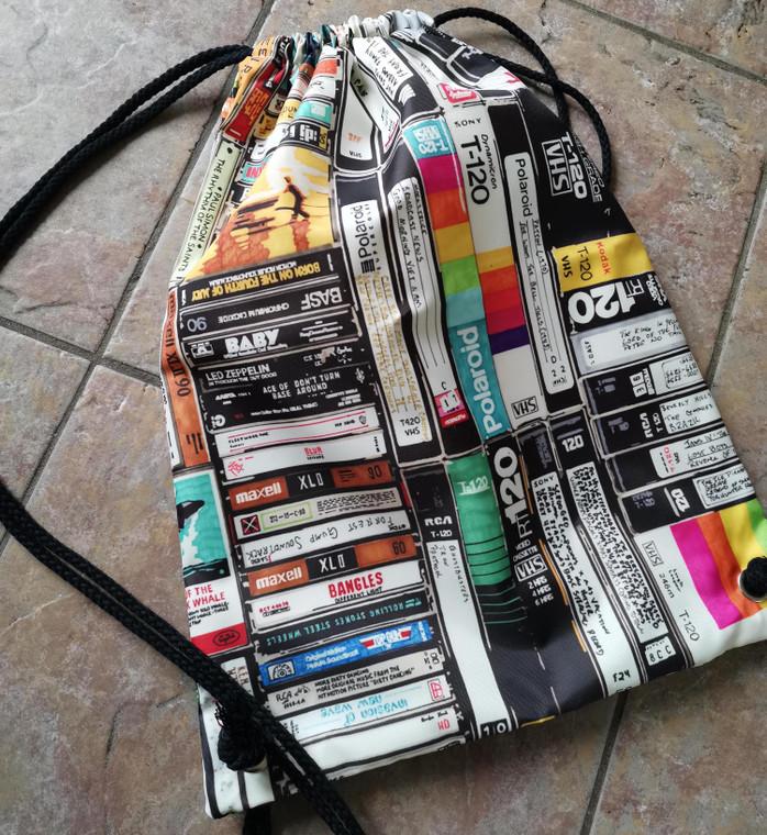 Cassettes, VHS, Atari KiSS Sports Bag - Retro - Video Tapes, 80s 90s - Handmade Unique - Gift Idea Festival