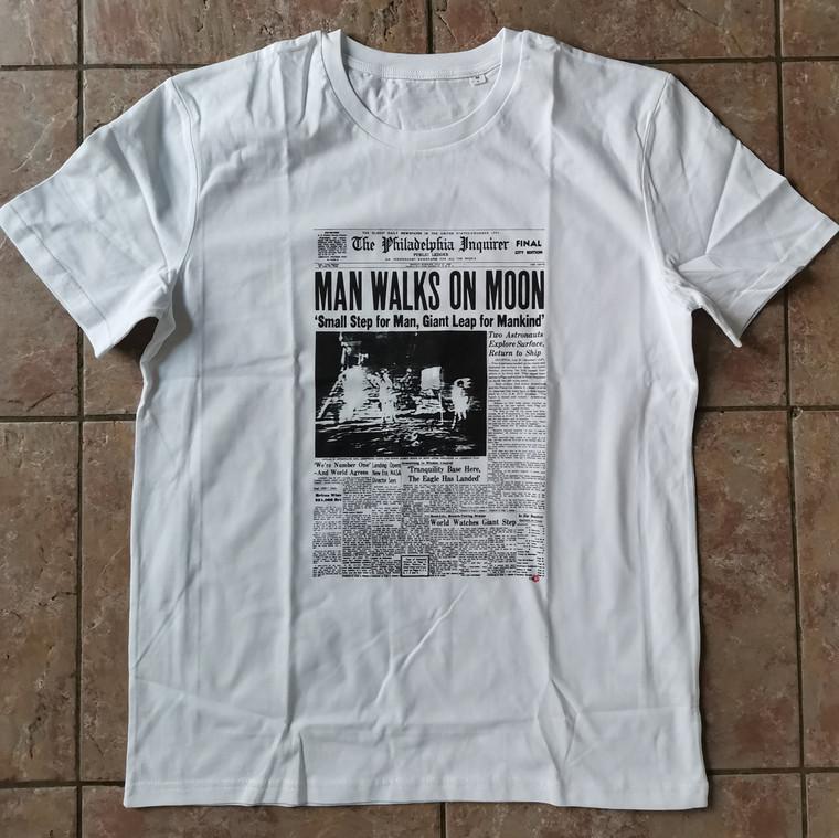 Man on Moon KiSS T-Shirt - Newspaper - Iconic Space, Philadelphia