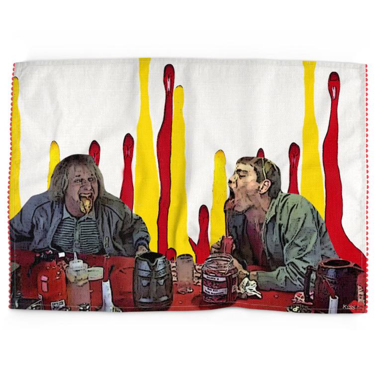 Dumb & Dumber  KiSS Tea Towel - Lloyd Christmas - Jim Carrey Jeff Daniels - Ketchup Mustard - Funny Gift Kitchen Cotton Linen