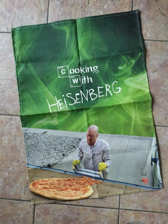 Cooking With Walt KiSS Tea Towel - Breaking Bad Inspired - Gift Idea - Bryan Cranston - Pizza - Handmade