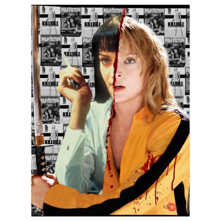 Kill Fiction KiSS Canvas or Poster - Kill Bill Pulp Fiction - Uma Thurman - Mia Wallace and The Bride Movie Split