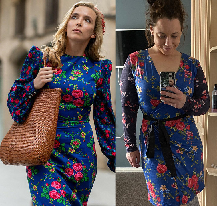 Floral Pattern KiSS Handmade Dress - Wrap Retro Cut and Sew - Villanelle Inspired Style - Killing Eve - Unique Jodie Comer - Dress Season 3 New