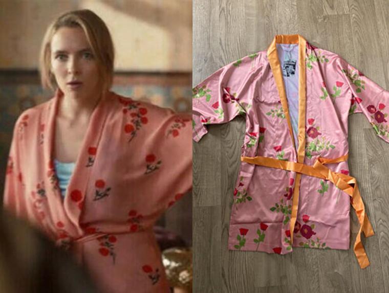 Pink Floral KiSS Kimono - Silk Style Robe - Dressing Gown Villanelle - Killing Eve Jodie Comer S03E04