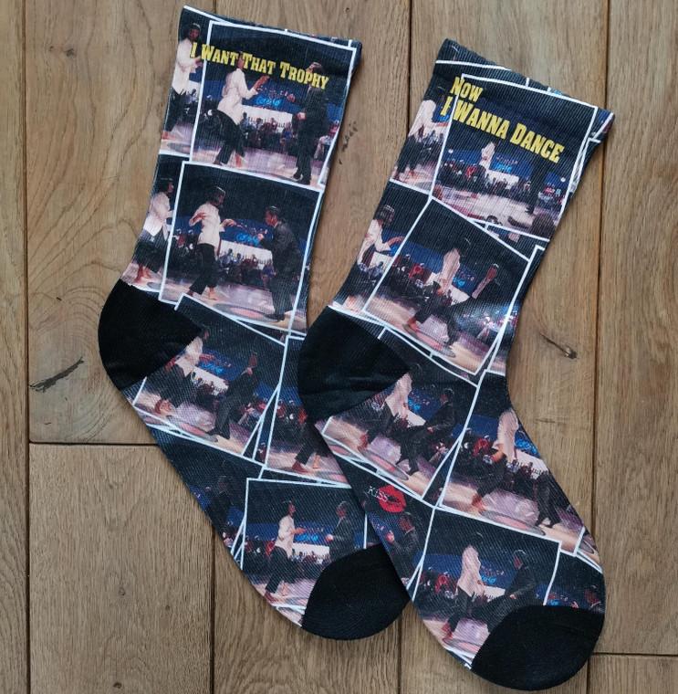 Pulp Fiction Dance KiSS Socks - Movie inspired - Quote - Tarantino John Travolta Uma Thurman