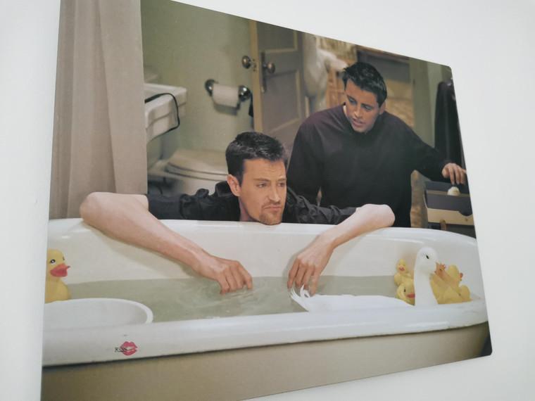 Friends Joey Chandler KiSS Metal Print Sign  - Bathroom - Aluminium Wall Art - Chick and Duck TV Show