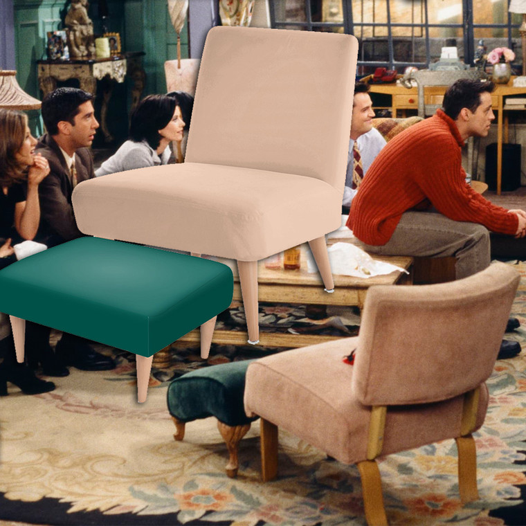 Monica's Chair & Footstool - Handmade - Inspired by Friends Apartment - 90s Style - TV Show - Luxury Fabric