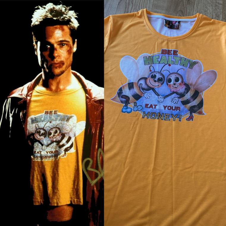 Bee Healthy KiSS T-Shirt - Fight Club Movie Inspired - Tyler Durden - Brad Pitt - Yellow Tee Eat Your Honey - Gift Cosplay