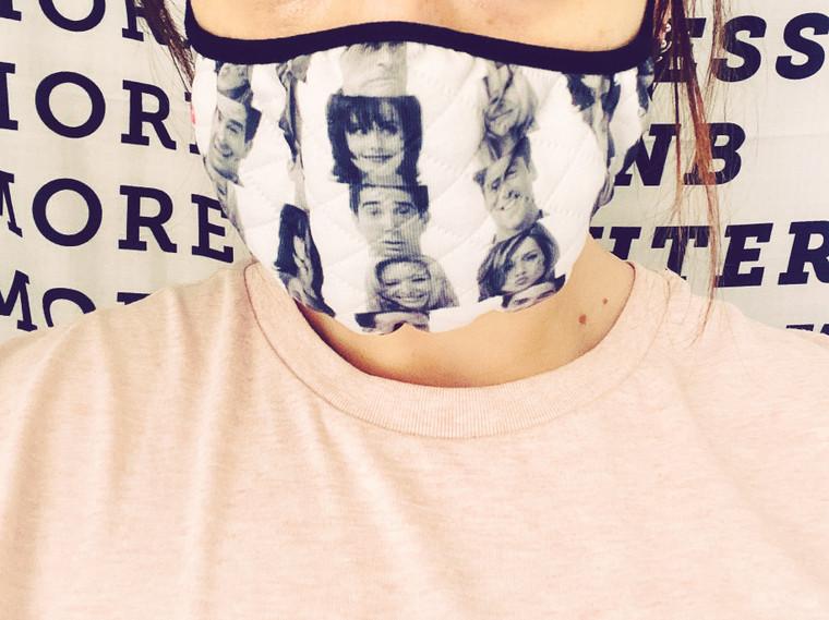 Friends Faces KiSS Face Mask - Rachel Joey Monica Chandler Ross Phoebe Jennifer Aniston Handmade reusable facemask - NYC