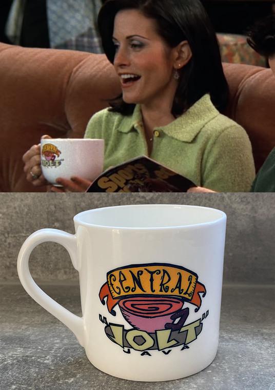 Friends Central Jolt KiSS Bone China Mug - Central Perk Inspired - TV show - Coffee Cup - Gunther Rachel Ross Monica Phoebe Chandler Joey