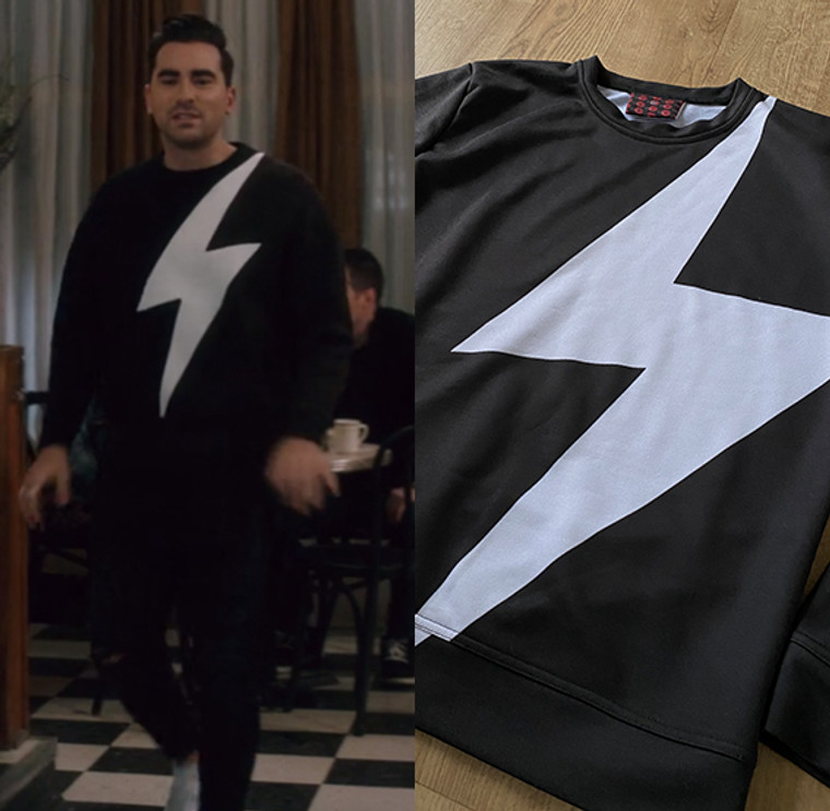 Lightning Bolt  KiSS Cut & Sew Jumper - David Rose Schitt's Creek Inspired - Black and White - TV Show - Sweatshirt
