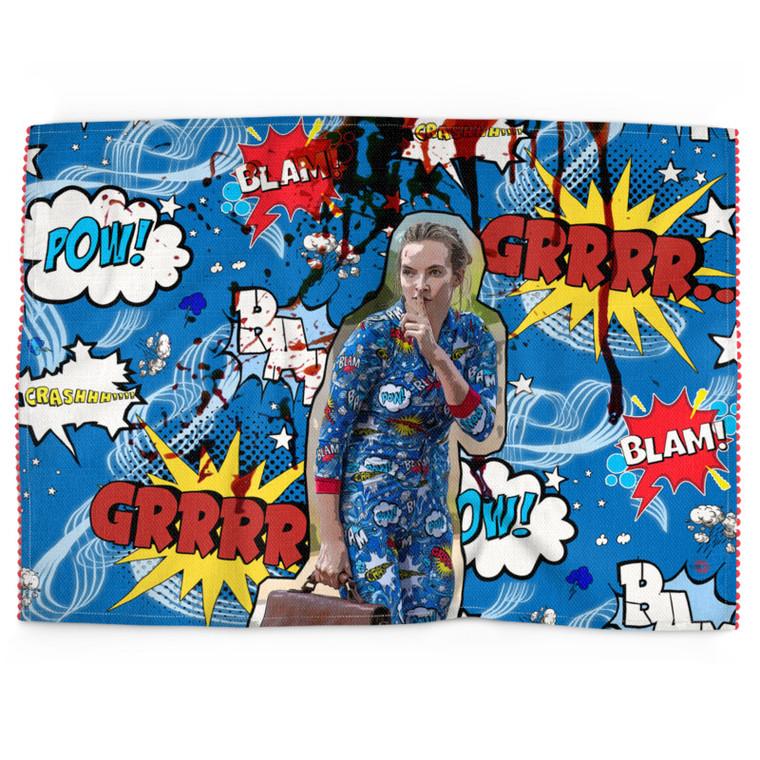 Villanelle Inspired KiSS Tea Towel Killing Eve Handmade - Kitchen Tea Coffee Shh TV Comic Book Pop Art Superhero Gift Idea Present - Jodie Comer
