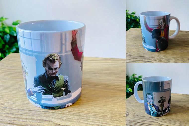 4 Jokers Meeting KiSS Mug - Heath Ledger - Edit - Jack Nicholson Jared Leto Joaquin Pheonix Dark Knight - Present - Joker