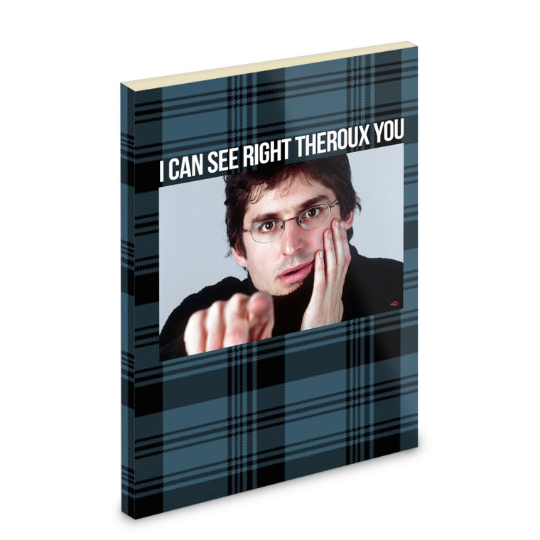 Louis Theroux KiSS Notebook - See Through/Theroux You - funny retro - Unique item gift Present