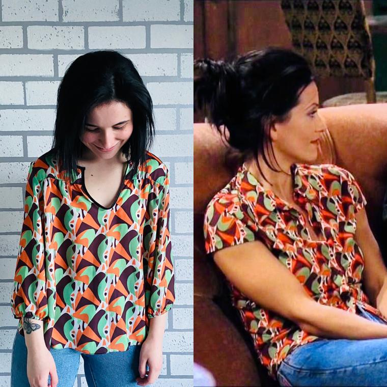 Monica KiSS Cut & Sew Blouse Or T-Shirt - Season 3 - Geller Friends Inspired - 60s 70s 90s Print - TV Show Theme Rachel Wardrobe