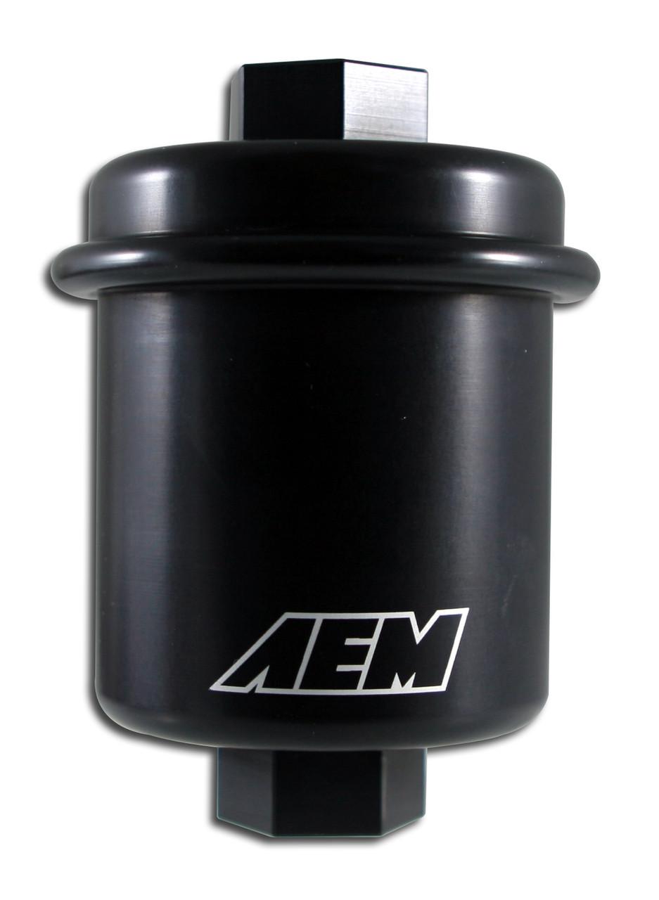 14mm X 1.5 Outlet:12mm X 1.25 25-200BK AEM Fuel Filter Acura Honda Inlet