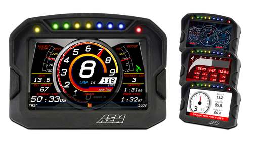 "AEM Digital Dash Display, CD-5 non-logging, non-GPS racing dash, CAN input only, 5-inch diagonal screen, carbon fiber enclosure, wiring harness included Full color 5"" screen with 800x480 resolution Direct sunlight readable (1000cd/m2 brightness and anti-glare filter) Layout files interchangeable with all versions of the CD-7 Wiring interface/harness is identical to the CD-7 Rugged, lightweight flow-molded carbon fiber composite enclosure Total display weight of 11.7 oz./331 grams IP66 water resistance allows for operation in boats and motorcycles without worry Accepts channels from two separate user programmable CAN bus connections – works with AEMnet enabled devices and non-AEM 3rd party devices side by side Plug & Play Adapter Cables available for Holley, Link, MSD Atomic and Vi-Pec ECUs Accepts channels from 2008-up factory ECUs using Plug & Play OBDII CAN Adapter Cable (PN 30-2217, sold separately) Install the CD-5 Carbon on carbureted and pre-2008 stock ECU-equipped vehicles using a 22 Channel CAN Sensor Module (PN 30-2212, sold separately) Available with or without 200Mb internal logging (up to 1,000Hz/channel) Available with or without on-board GPS receiver and antenna Add Vehicle Dynamics Module for GPS, 3-axis gyroscope and 3 axis accelerometer for G-loads, roll, pitch, yaw, track mapping and lap timing (PN 30-2206, sold separately) Seven programmable pages including four Main pages, Alarm, On-Change and Start-up pages Dedicated Alarm page quickly identifies problems, programmable in almost any language! (user defined) Unique On-Change page can be used to identify map switching for boost, traction, lap times, etc. Use included page layouts and input your channels and text, or create your own from scratch Free DashDesign Graphics Editor software Seven LED RPM/shift light indicators on top of the housing (programmable and dimmable) Two programmable LEDs Odometer function Over 200 supplied fully programmable SAE and custom warning icons, and you can add your own 'Headlight-in' connection dims the dash and LEDs during night operation Two extra switch inputs included for displaying user-triggered events (blinkers, high beams etc.) User supplied graphics can be changed based on channel values (up to the full screen size) Convert CAN bus channel values to user-defined text in multiple languages"