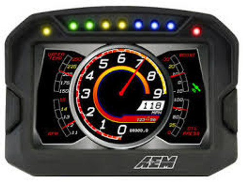 "AEM Digital Dash Display, CD-5L logging, non-GPS racing dash, CAN input only, 5-inch diagonal screen, carbon fiber enclosure, wiring harness included Full color 5"" screen with 800x480 resolution Direct sunlight readable (1000cd/m2 brightness and anti-glare filter) Layout files interchangeable with all versions of the CD-7 Wiring interface/harness is identical to the CD-7 Rugged, lightweight flow-molded carbon fiber composite enclosure Total display weight of 11.7 oz./331 grams IP66 water resistance allows for operation in boats and motorcycles without worry Accepts channels from two separate user programmable CAN bus connections – works with AEMnet enabled devices and non-AEM 3rd party devices side by side Plug & Play Adapter Cables available for Holley, Link, MSD Atomic and Vi-Pec ECUs Accepts channels from 2008-up factory ECUs using Plug & Play OBDII CAN Adapter Cable (PN 30-2217, sold separately) Install the CD-5 Carbon on carbureted and pre-2008 stock ECU-equipped vehicles using a 22 Channel CAN Sensor Module (PN 30-2212, sold separately) Available with or without 200Mb internal logging (up to 1,000Hz/channel) Available with or without on-board GPS receiver and antenna Add Vehicle Dynamics Module for GPS, 3-axis gyroscope and 3 axis accelerometer for G-loads, roll, pitch, yaw, track mapping and lap timing (PN 30-2206, sold separately) Seven programmable pages including four Main pages, Alarm, On-Change and Start-up pages Dedicated Alarm page quickly identifies problems, programmable in almost any language! (user defined) Unique On-Change page can be used to identify map switching for boost, traction, lap times, etc. Use included page layouts and input your channels and text, or create your own from scratch Free DashDesign Graphics Editor software Seven LED RPM/shift light indicators on top of the housing (programmable and dimmable) Two programmable LEDs Odometer function Over 200 supplied fully programmable SAE and custom warning icons, and you can add your own 'Headlight-in' connection dims the dash and LEDs during night operation Two extra switch inputs included for displaying user-triggered events (blinkers, high beams etc.) User supplied graphics can be changed based on channel values (up to the full screen size) Convert CAN bus channel values to user-defined text in multiple languages"