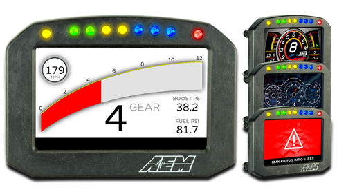 "AEM Flat Panel Digital Display CD-7 non-logging race dash, CAN input only, 7-inch diagonal screen, carbon fiber enclosure, wiring harness included, Does Not Include Buttons (See PN 30-3610) Full color 7"" screen with 800x480 resolution Direct sunlight readable (1000cd/m2 brightness and anti-glare filter) Layout files interchangeable between all CD Carbon Dashes Wiring interface/harnesses are identical between all CD Carbon Dashes Rugged, lightweight flow-molded carbon fiber composite enclosure IP66 water resistance – open cockpit safe Accepts channels from AEMnet CAN-enabled devices and non-AEM CAN bus devices side by side Seven programmable pages including four Main pages, Alarm, On-Change and Start-up pages (requires Button Kit PN 30-3610) Dedicated Alarm page quickly identifies problems, programmable in almost any language! (user defined) Unique On-Change page can be used to identify map switching for boost, traction, lap times, etc. Use the included page layouts and input your channels and text, or create your own from scratch Free DashDesign Graphics Editor software Seven LED RPM/shift light indicators on top of the housing (programmable and dimmable) Two programmable LEDs Odometer function Over 200 supplied fully programmable SAE and custom warning icons, and you can add your own 'Headlight-in' connection dims the dash and LEDs during night operation Two extra switch inputs included for displaying user-triggered events (blinkers, high beams etc.) User supplied graphics can be changed based on channel values (up to the full screen size) Convert CAN bus channel values to user-defined text Plug & Play Adapter Cables available for Holley, Link, MSD Atomic and Vi-Pec ECUs Accepts channels from 2008-up factory ECUs using Plug & Play OBDII CAN Adapter Cable (PN 30-2217, sold separately) Install on carbureted and pre-2008 stock ECU-equipped vehicles using a 22 Channel CAN Sensor Module (PN 30-2212) or 6 Channel CAN Sensor Module (PN 30-2226) Install 8 additional temp inputs and send them to the CD-7 Carbon with our 8 Channel K-Type EGT CAN Module (PN 30-2224, sold separately) Available with or without 200Mb internal logging (up to 1,000Hz/channel) Available with or without onboard 20 Hz GPS receiver and antenna Add Vehicle Dynamics Module for GPS, 3-axis gyroscope and 3 axis accelerometer for G-loads, roll, pitch, yaw, track mapping and lap timing (PN 30-2206, sold separately)"
