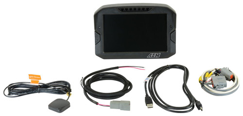 """AEM Digital Dash Display, CD-7G non-logging, GPS enabled racing dash, CAN input only, 7-inch diagonal screen, carbon fiber enclosure, GPS antenna and wiring harness included (Does NOT Include Vehicle Dynamics Module) Full color 7"""" screen with 800x480 resolution Direct sunlight readable (1000cd/m2 brightness and anti-glare filter) Layout files interchangeable with all versions of the CD-5 Carbon Wiring interface/harness is identical to the CD-5 Carbon Rugged, lightweight flow-molded carbon fiber composite enclosure Total display weight of 20.9 oz. / 595 grams IP65 water resistance - open cockpit, marine and motorcycle safe Accepts channels from two separate user programmable CAN bus connections – works with AEMnet enabled devices and non-AEM 3rd party devices side by side Plug & Play Adapter Cables available for Holley, Link, MSD Atomic and Vi-Pec ECUs Accepts channels from 2008-up factory ECUs using Plug & Play OBDII CAN Adapter Cable (PN 30-2217, sold separately) Install the CD-7 Carbon on carbureted and pre-2008 stock ECU-equipped vehicles using a 22 Channel CAN Sensor Module (PN 30-2212, sold separately) Available with or without 200Mb internal logging (up to 1,000Hz/channel) Available with or without on-board 20Hz GPS receiver and antenna Add a Vehicle Dynamics Module for GPS, 3-axis gyroscope and 3 axis accelerometer for G-loads, roll, pitch, yaw, track mapping and lap timing (PN 30-2206, sold separately) Add an 8 Channel K-Type EGT CAN Module for 8 additional temps via AEMnet CAN bus (PN 30-2224, sold separately) Seven programmable pages including four Main pages, Alarm, On-Change and Start-up pages Dedicated Alarm page quickly identifies problems, programmable in almost any language! (user defined) Unique On-Change page can be used to identify map switching for boost, traction, lap times, etc. Use included page layouts and input your channels and text, or create your own from scratch Free DashDesign Graphics Editor software Seven LED RPM/shift light indicator"""