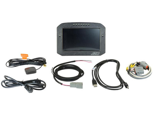 """AEM Digital Dash Display, CD-7LG logging, GPS enabled racing dash, CAN input only, 7-inch diagonal screen, carbon fiber enclosure, GPS antenna and wiring harness included (Does NOT Include Vehicle Dynamics Module), Does Not Include Buttons (See PN 30-3610) Full color 7"""" screen with 800x480 resolution Direct sunlight readable (1000cd/m2 brightness and anti-glare filter) Layout files interchangeable between all CD Carbon Dashes Wiring interface/harnesses are identical between all CD Carbon Dashes Rugged, lightweight flow-molded carbon fiber composite enclosure IP66 water resistance – open cockpit safe Accepts channels from AEMnet CAN-enabled devices and non-AEM CAN bus devices side by side Seven programmable pages including four Main pages, Alarm, On-Change and Start-up pages (requires Button Kit PN 30-3610) Dedicated Alarm page quickly identifies problems, programmable in almost any language! (user defined) Unique On-Change page can be used to identify map switching for boost, traction, lap times, etc. Use the included page layouts and input your channels and text, or create your own from scratch Free DashDesign Graphics Editor software Seven LED RPM/shift light indicators on top of the housing (programmable and dimmable) Two programmable LEDs Odometer function Over 200 supplied fully programmable SAE and custom warning icons, and you can add your own 'Headlight-in' connection dims the dash and LEDs during night operation Two extra switch inputs included for displaying user-triggered events (blinkers, high beams etc.) User supplied graphics can be changed based on channel values (up to the full screen size) Convert CAN bus channel values to user-defined text Plug & Play Adapter Cables available for Holley, Link, MSD Atomic and Vi-Pec ECUs Accepts channels from 2008-up factory ECUs using Plug & Play OBDII CAN Adapter Cable (PN 30-2217, sold separately) Install on carbureted and pre-2008 stock ECU-equipped vehicles using a 22 Channel CAN Sensor Module (PN 30-2212) or 6"""