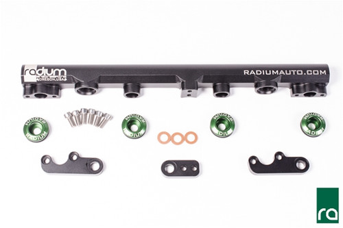 Radium Nissan SR20VE, Fuel Rail, Top Feed Conversion Included -Black Anodized Aluminum Fuel Rail -Black Anodized Aluminum Mounting Feet (x3) -Stainless Steel Mounting Feet Bolts (x6) -Phenolic Mounting Bolt Washers (x3) -Radium 20-0161-04, 25mm Injector Seats