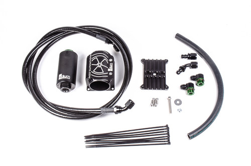 "Radium Fuel Hanger Feed, FD RX7, Stainless Filter INCLUDES -Fuel Filter (-01 Cellulose, -03 Stainless, or -05 Microglass) -Fuel Filter Heat Exchanger -FD RX7 Fuel Filter Mount -8AN PTFE Fuel Feed Hose -Vapor Shield 1/2"" Hose -Black 8AN Adapter Fittings -Black 8AN Hose Ends -Stainless Steel Hardware"