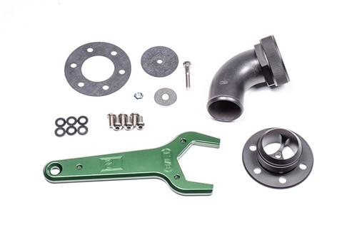 "Radium Remote Mount Fill Neck, 24AN Elbow, 1.5in Barb Included: -24AN Flanged Fill Neck -24AN Hose End Elbow for 1.5"" ID Hose -Aluminum Wrench, 1-7/8"" -Viton Gasket Flange Seal -Viton Flapper Valve -Nylon Sealing Washers -Stainless Steel Hardware"