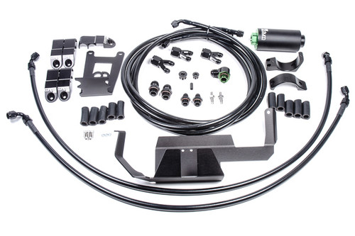 Radium Fuel Hanger Feed Kit, Nissan R35 GT-R, Microglass INCLUDES -Fuel Filter (Microglass) -10AN ORB to 10AN Male Low Profile Fitting -10AN to 6AN Y-Adapter Fittings (x3) -Fuel Line Retaining Mounts (x5) -R35 Filter Heat Shield Bracket -60mm 2-Piece Filter Clamp -6AN PTFE Fuel Hoses (x4) -Stainless Steel Hardware