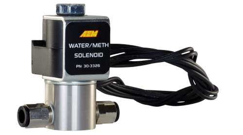 "The AEM Water/Methanol Solenoid is a 2-way, normally closed 12V valve with stainless steel body for use with AEM Water/Methanol Injection Systems. The shut-off valve provides an accurate and consistent shut off and prevents siphoning under vacuum. Stainless steel Water/Methanol Injection Solenoid (PN 30-3326) eliminates any chance of water/methanol flow into the inlet when the WMI system is not engaged. This affordable water/methanol injection accessory features high flow capability (3,600cc/min) and an impressively low current draw of only 0.75A that does not require the use of an additional relay.  The valve body features include 1/8"" NPT ports with included push-to-lock ¼"" hose fittings for easy connection and EPDM seals that stand up to corrosion for years of reliable use. It's an inexpensive insurance policy to protect your high performance engine regardless of the brand of water/methanol injection system you are using!  Features: High flow rating (3600 cc/min @ 150 psi) Low current draw (0.75A @ 13.5V) No additional relay required Standard 1/8""- 27 NPT inlet/outlet with included ¼"" push-to-lock hose fittings for easy installation Fast response time Tested to 200 PSI Stainless steel enclosure and internals with EPDM seals for corrosion resistance Flying leads simplify connection with user desired connector"