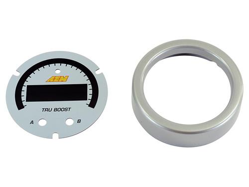 AEM X-Series Tru-BoostX Boost Controller Gauge Accessory Kit. Silver Bezel and White Faceplate.