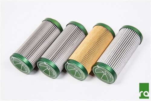 Radium Replacement Filter, Microglass 6 Micron All replacement elements for the Radium fuel filter use anodized aluminum end caps that are laser engraved for easy identification and use an internal Viton O-ring for compatibility with all fuel types.