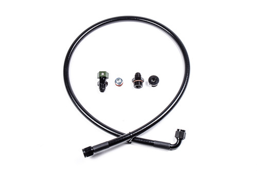 "Radium Fuel Rail Plumbing, BMW S54 The plumbing kits contains the items in the image below. -1x  8AN ORB plug -1x  3/8"" NPT plug -1x  6AN male adapter -1x  PTFE fuel feed hose -1x  SAE adapter to attach to FPR"