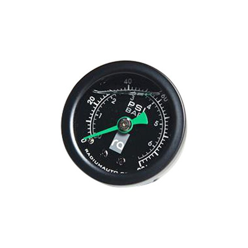 Radium Fuel Pressure Gauge with 6AN Inline Adapter Universal Fuel Pressure Gauge (20-0152) by Radium. This high-accuracy fuel pressure gauge is suitable for all fueling applications. It features an acrylic lens with a silicone filled dial that reads from 0 to 100psi (0 to 6.9 BAR) with +/- 2% accuracy. Silicone fluid prevents the needle from vibrating for easy pressure readings. The internal bubble is normal. Comes with -6AN Adapter.
