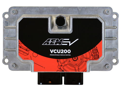 AEM Programmable EV Vehicle Control Unit, Universal, 80-pin connector, 4 CAN, 1-Motor Control, IP67k Aluminum Enclosure The AEM EV VCU200 features a waterproof aluminum enclosure (IP67K, -40C - 105C) and has an 80 pin connector. It is built on OEM hardware with OEM control strategies and uses proprietary AEMcal software for programming (learn more about AEMcal software). The VCU200 can control one electric motor/inverter and link 4 independent controller area networks (CAN bus). A general set of hardware features is shown below. Actual features are application dependent (contact sales@aemev.com). INPUTS: 13 Analog inputs 15 Digital Inputs 4 Frequency inputs OUTPUTS: 12 Low-side drivers 6 High-side drivers 4 Half Bridges with shunt resistors which provide - 4 low side drivers (PWM) or 4 High Side Drivers
