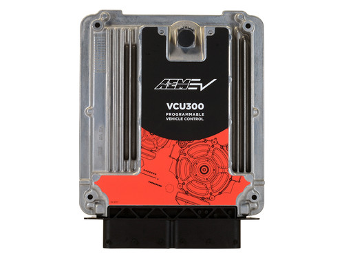 AEM Programmable EV Vehicle Control Unit, Universal, 196-pin connector, 3 CAN, 4-Motor Control, IP67k Aluminum Enclosure The AEM EV VCU300 features a waterproof aluminum enclosure (IP69K, -40C - 105C) and has a 196 pin connector. It is built on OEM hardware with OEM control strategies and uses proprietary AEMcal software for programming. The VCU300 can control up to four independent electric motors/inverters and link 3 independent controller area networks (CAN bus). A base set of hardware features is shown below. Actual features are application dependent. INPUTS: 31 Analog inputs 8 Digital Inputs 5 Frequency inputs OUTPUTS: 39 Low-side drivers Two (2) High-side drivers Three (3) H-bridge channels One (1) Main power relay