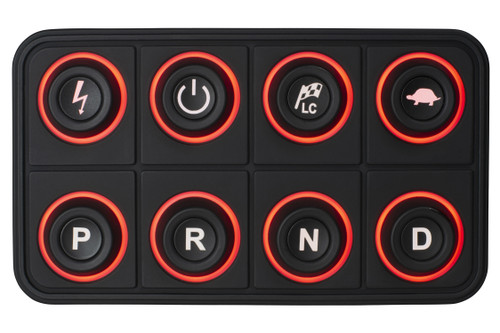 AEM Eight Button Keypad - CAN Based, programmable, programmable backlighting The AEM EV 8-Button CAN Keypad puts control at your fingertips in EV street-conversion and motorsports vehicles. It is programmed with operational features that include system power, vehicle power, Park, Reverse, Neutral and Drive as well as two map-switching based functions like power level and traction control. The keypad features multiple programmable backlit colors that provide complete customization and cool factor. It transmits signals via CAN bus to a Vehicle Control Unit like the AEM EV VCU200, VCU 300 or other VCU capable of receiving and executing commands over a CAN bus network.