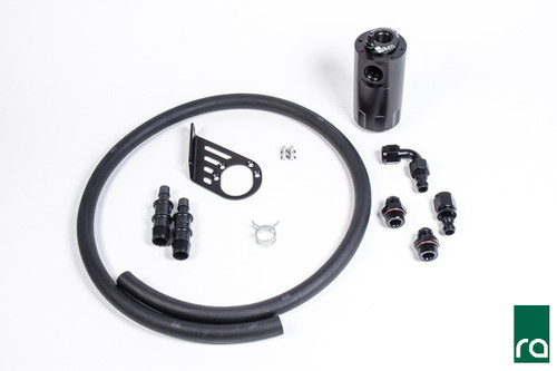 Radium Catch Can Kit, Crankcase, Fiesta ST Each kit features the following:  -Anodized oil catch can with integrated condenser and dipstick -Anodized aluminum Fiesta specific mounting bracket -Anodized aluminum -AN adapter fittings and hose ends -Enough PCV hose for custom applications   -Stainless steel mounting hardware
