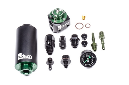 Radium FPR and Fuel Filter Kit, Stainless, BMW E46 M3 The complete 20-0430-03 kit is shown. All necessary hardware and adapter fittings are included. Nothing else is required.