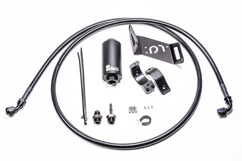 Radium Fuel Hanger Feed, BMW, Stainless Filter  INCLUDES: -Fuel Filter Stainless -Fuel Filter Billet Clamp  -BMW Fuel Filter Mount -Black Adapter Fittings -Stainless Steel Hardware