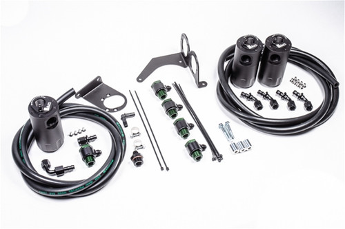 Radium Triple Catch Can Kit, CCV, Nissan R35 GT-R Each kit features the following:  -Anodized oil catch can(s) with integrated condenser and dipstick(s) -Anodized aluminum R35 GT-R specific mounting brackets -Anodized aluminum -AN adapter fittings and hose ends -Stainless steel mounting hardware -Radium Engineering PCV hose