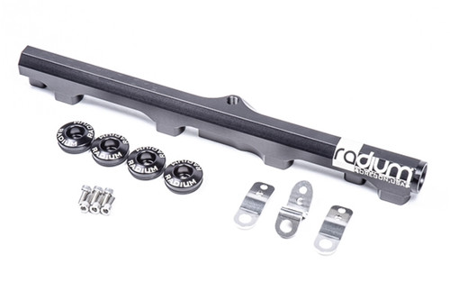 Radium Fuel Rail, Top Feed Conversion, Nissan SR20DET (S13) WHATS INCLUDED -Black Anodized Aluminum Fuel Rail -Black Anodized Aluminum 30mm Injector Seats (20-0160-04) -3x Stainless Steel Mounting Brackets -6x Stainless Steel Mounting Bolts