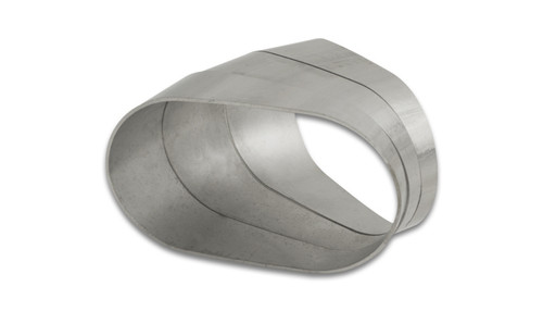 """Vibrant Performance Stainless Steel Tubing, 45 Degree Horizontal Plane Oval Pie Cuts, Nominal Tube Size: 3"""""""
