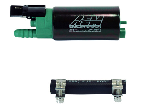 AEM E100/M100 High Flow Fuel Pump for Polaris RZR Turbo TECHNICAL SPECS: Weight: 12.5oz (354 grams) Outside Diameter: 36.7mm OD External Materials: Black plated steel with laser etching, green end cap Inlet Fitting: -7.7mm ID, 11.0mm OD, Offset Inline Outlet Fitting: -10mm hose clamp, barbed. Offset PRV Activation: 115 PSI Impeller Design: Single Scroll Ceramic Turbine