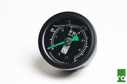 """Radium Fuel Pressure Gauge with 90deg Adapter This high-accuracy fuel pressure gauge is suitable for all fuelling applications. It features an acrylic lens with a silicone filled dial that reads from 0 to 100psi (0 to 6.9 BAR) with +/- 2% accuracy. The silicone fluidprevents the needle fromvibrating for easy pressure readings. The internal bubble is normal. Rugged stainless 1-5/8"""" OD steel case (1-3/4"""" OD bezel) with nickel plated male 1/8"""" NPT fitting. Available with black bezel and housing only."""