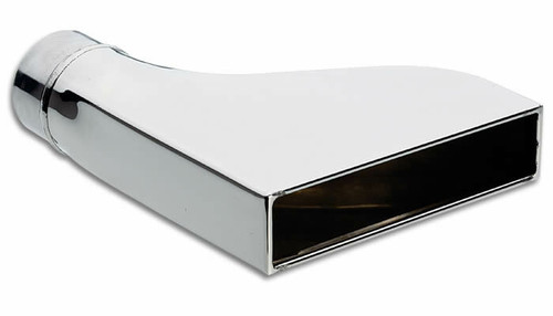 """Vibrant Performance 7.75"""" 1.875"""" Rectangular Stainless Steel Tip (Camaro Style) - 2.25""""inlet Inlet Diameter: 2.25"""" Outlet Size: 7.75"""" x 1.875"""" Rectangular Overall Length: 9.5"""" Tip Style: Camaro Style, Single Wall, Rolled Edge"""