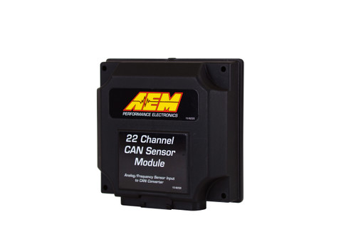 """AEM 22 Channel CAN Sensor Module, Analog & Frequency to CAN Converter Module, Incl. Module for Converting 4 0-5V Analog Inputs, 4 Temp Inputs, 4 Selectable Analog Inputs (0-5V, Thermistor or RTD), 6 Digital Inputs, Tach Input, 2 VR (Frequency) Inputs, Fuel Level Input, IP65 Enclosure, Wiring Harness w/ 36"""" Flying Leads Convert analog, digital and frequency-based inputs to AEMnet CAN bus for display on CD-5 Carbon and CD-7 Dashes! Perfect for users with carbureted vehicles who want to add a CD Dash display Ideal for EFI users who want to add more channels to a CD Dash without purchasing multiple CAN-based devices Daisy chain two Modules together for additional channels IP65-rated enclosure is 'dust tight' and water resistant Wiring harness included with 36-inch flying leads and pre-wired CAN cable Four dedicated 0-5V Analog inputs Four Temperature (thermistor) inputs Four user-configurable Analog inputs, (jumper selectable; 0-5v, thermistor, or RTD) One dedicated Fuel Level input (0 to 250 ohm range) Six configurable Digital or Frequency inputs, active low, protected to ~18v, frequency, duty cycle or simple switch One Tach input, trigger when low, 12v internal Pull Up Two VR Pair Frequency inputs (crank, wheel or drive shaft speeds) Jumper selectable CAN bus speeds, 250k,500k,1M Jumper selectable terminating resistor Jumper selectable header length, 11bit or 29 bit Dimensions: 4.7"""" L x 4.3"""" W x 1.4"""" H (not including connector) Weight: 6.4oz / 180g"""