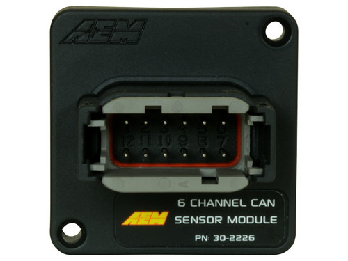 """AEM 6 Channel CAN Sensor Module converts two analog temp channels, two analog pressure channels, a tach input and fuel level input to AEMnet CAN bus, creating an affordable way to get critical data to a CD Carbon Digital Dash Display on carbureted vehicles or add additional channels that may be missing from an OBDII CAN stream on 08+ vehicles. This Module supports the Bosch 2.0b CAN bus standard, which makes it compatible with lots of non-AEM devices Two (2) temperature (thermistor) inputs Two (2) dedicated 0-5V analog inputs One (1) dedicated fuel level input (0 to 250 Ohm range) One (1) tachometer/coil input Fixed CAN bus speed, header length, and base address IP67 Potted Enclosure / Sealed Connector - """"dust tight"""" and protected against water spray Protected inputs"""
