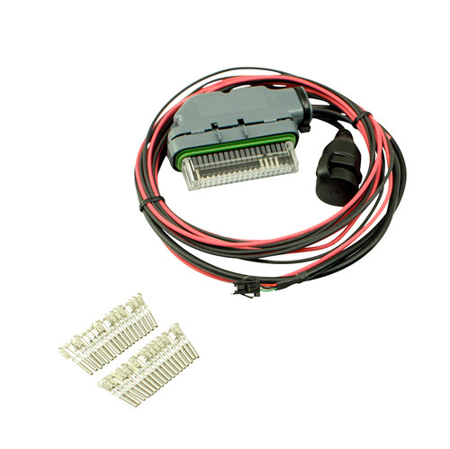 AEM EMS 4 - Mini Harness. Pre-wired for Power, Ground, CAN & USB Coms Users who want to create a custom harness can use AEM's EMS-4 Plug & Pin Kit (PN 30-2905-0). This kit is ideal for creating a custom harness that does not require hard wired analog, analog/frequency or to switched-to-ground digital inputs. The EMS-4 Plug & Pin Kit is pre-wired for AEMnet, power/ground, USB and CAN leads, and includes a bag of 20 terminal connectors for populating your inputs.